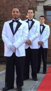 ID#KA29639 Mens White ~ Black Two Flap Front Pockets Notch Lapel Suit