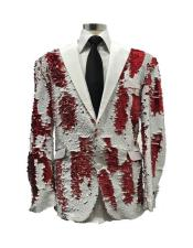 ID#AI29769 Mens Single Breasted Red Christmas Party Blazer