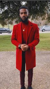 ID#AI29777 Two Button One Chest Pocket Notch Lapel Red Overcoat Pre order limited Edition To Ship Jan/1/2020
