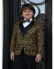 ID#AI29780 Mens Textured Pattern Gold Tuxedo Jacket and Pants And Vest