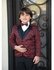 Red Textured Pattern Jacket
