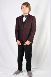 Shawl Lapel Burgundy Solid