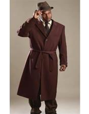 ID#AI29808 One Button Shawl Lapel Wine Single Breasted Long Mens Dress Topcoat - Winter coat
