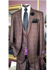 ID#AI29839 Mens Six Button Brown Double Breasted Peak Lapel Jacket