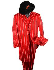 ID#KA29852 WTXZoot200SUITAMM282 SHIMMERY GANGSTER Black And Bold Pronounce Red ~ White Pinstripe Fashion Longe