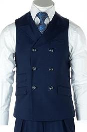 men's Casual Double Breasted Set Vest + Pleated Pants Wide Leg Wool Fabric