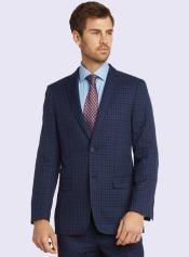 Bertolini Silk & Wool Fabric Men's Blue Check Suit