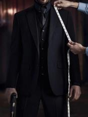 men's John Wick Vested Black Suit Costume