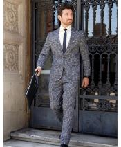 ID#KA29918 One Chest Pocket Two Flap Front Pockets Black ~ White Suit