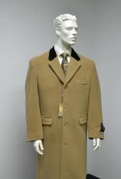 ID#KA29931 Chesterfield Wool & Cashmere Full Length Velvet Collar Beige ~ Camel  and brown ~ Khaki