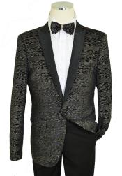 ID#KA29972 Metallic Multi-Color Lurex Classic / Cielo Black / Bow Tie Slim Fit Cut Velvet men's Blazer