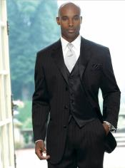 Striped Pinstriped Tuxedo Suit