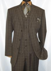 Piece Suit Mens Brown