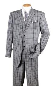 ID#KA30028 Black Plaid 1920s Style 3 Piece Fashion Fortino Checkered Suit 1920s Mens Fashion