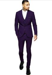 Purple Two Besom Pockets One Button Slim Vested Suit