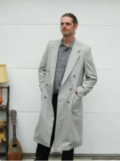 ID#KA30068 Mens Overcoat Topcoat Wool Light Grey Double Breasted By Alberto Nardoni