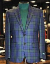 ID#KA30089 Plaid Green And Blue Tartan Pattern Blazer