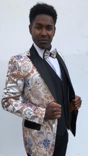 men's Slim Fit Wedding / Prom Blazer Silver Paisley Fabric Slim Fitted / Dinner Jacket / Fashion Sport Coat