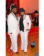 ID#KA30127 Mens Single Breasted Notch Lapel High Zoot Suit - Pimp Suit - Zuit Suit or Tuxedo With Trimmed Lapel White ~ Black