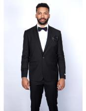 ID#KA30133 Graduation 100% Wool Flat Front Pant Suit For Boy / Guys Black