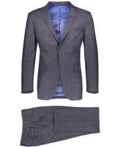 Plaid ~ Windowpane Pattern Graduation Suit For boy / Guys Gray