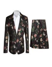 Buttons Floral Fashion Suits