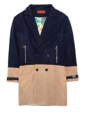 Two Tone Overcoat Navy