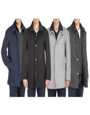 ID#KA30659 Classic-Fit 2-in-1 Wool Blend Bibbed Mens Car Coat
