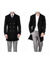 ID#KA30661 Mens Wool Peacoat Three Quarter Carcoat Long Jacket