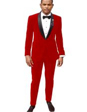 Button Velvet Red Suit