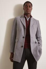 ID#AI30748 Mens Single Breasted Grey ~ Wine Wool Coat Peacoat
