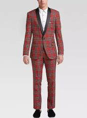 ID#KA30759 Tartan Red and Black Pattern Fully Lined One Button Suit For Men $200