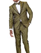 Gold Paisley Floral Suit