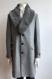 ID#KA30779 Mens Long Jacket Three Quarter Ticket Pocket Peacoat ~ Carcoat ~ Overcoat Wool With Fur Collar LT Gray