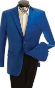 ID#KA30782 Mens Fashion 2 Button Velvet Jacket velour Mens Blazer Jacket Royal Blue
