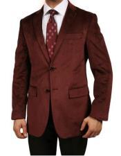 ID#KA30788 Velour Mens Blazer Jacket Burgundy ~ Maroon ~ Wine Color Luxurious Velvet Highlights