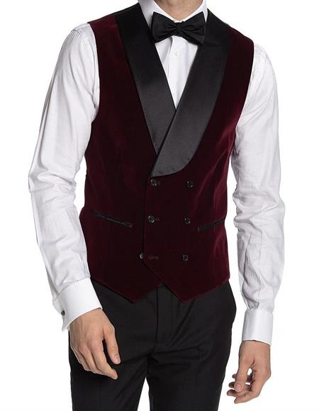 Double Breasted Velvet Vest