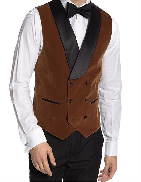 Breasted Velvet Vest Brown