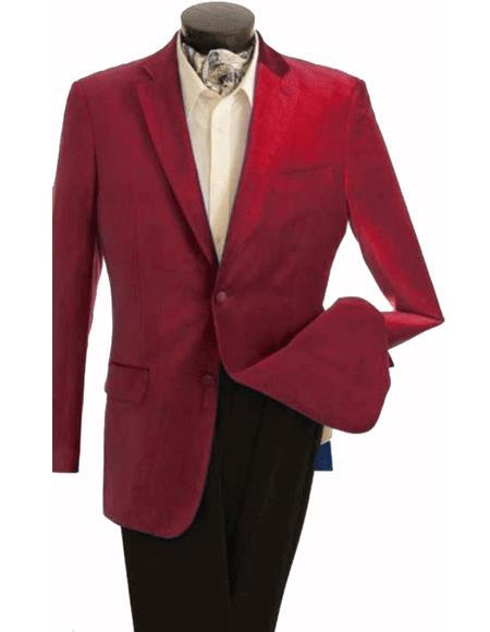 ID#KA30942 Mens Fashion 2 Button Velvet Winish Burgundy ~ Maroon ~ Wine Color Maroon Velour Mens Blazer Jacket