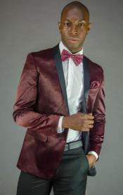 ID#KA31015 Mens 2 Button Black and Burgundy ~ Wine ~ Maroon Color Velvet Slim Fit Tuxedo Jacket / velour Blaze