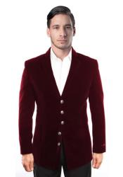 ID#KA31109 Men's 5 Button Dark Burgundy ~ Wine ~ Maroon Color Velvet Cheap Priced Designer Fashion Dress Casual
