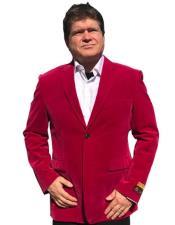 ID#KA31132 Alberto Nardoni Hot Pink Tuxedo ~ Fuchsia velour Mens Blazer Jacket