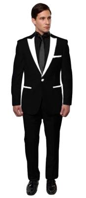 ID#KA31149 BTuxedo ~ Tux Black And White Lapel Tuxedo Two Toned Velvet Fabric velour Mens Blazer Jacket