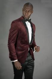 Slim Fit Burgundy Velvet