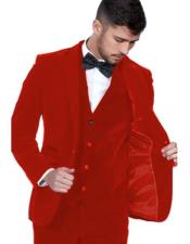Red Color Peak Lapel