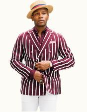 Burgundy/White Stripe Blazer Mens