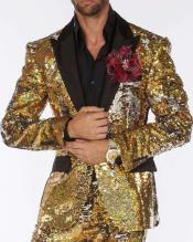 ID#SP31308 Limited Edition Pre order Feb/30/2020 Mens Sequin Suits Gold/Silver Perfect For Stage Tuxedos For Prom / Wedding
