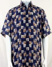 Bassiri Navy Dimension Squares Short Sleeve Shirt 3985