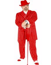 ID#KA31411 One Chest Pocket Besom Pocket Pimp Suit Red/White Pinstripe
