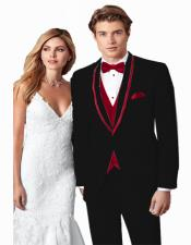ID#KA31416 Black/Burgundy Trim Prom ~ Wedding Tuxedo Vested Suits Wtih Shawl Collar